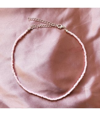 Beads Choker Necklace / Pink