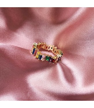 Gold Cubic Rainbow Ring