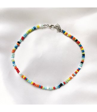 Rainbow Beads Choker Necklace / Bright