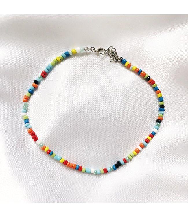 Rainbow Beads Choker Necklace / Bright