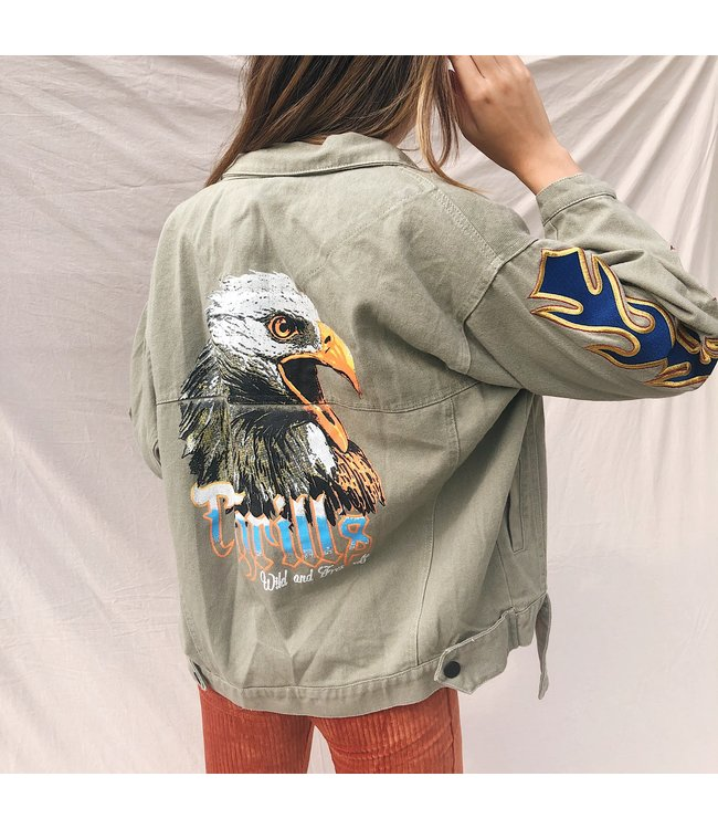 Charli Printed Eagle Jacket / Army