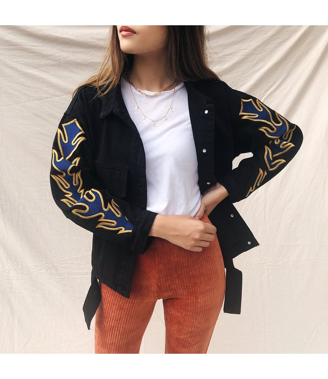 Charli Printed Eagle Jacket / Black