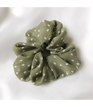 Cara Soft Dots Scrunchie / Green