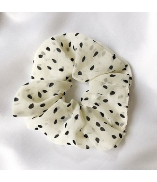 Cara Soft Dots Scrunchie / Off White