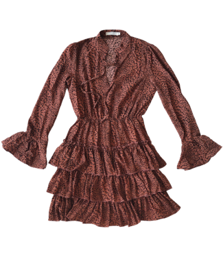 Chaya Cheetah Dress  / Rust Brown