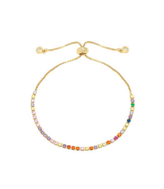 Gold Rainbow Rhinestone Bracelet
