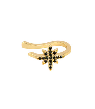 Gold Star Earcuff / Black