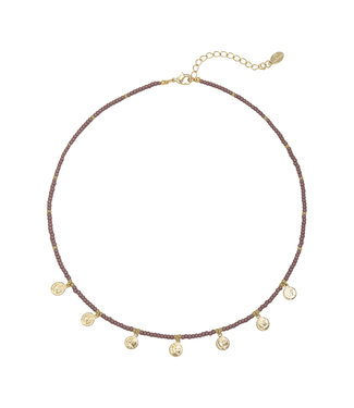 Selah Beads Coin Necklace / Purple