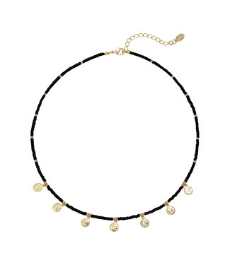 Selah Beads Coin Necklace / Black