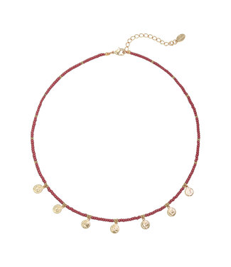 Selah Beads Coin Necklace / Red
