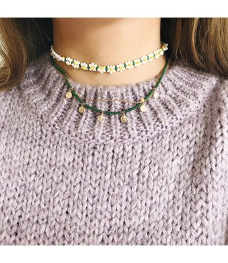 Selah Beads Coin Necklace / Green