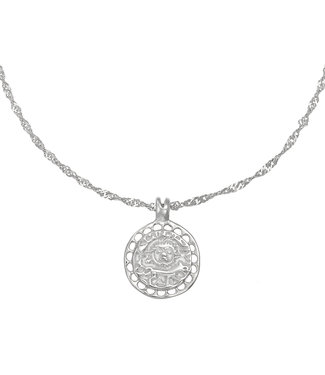 Silver Sun & Wolf Necklace