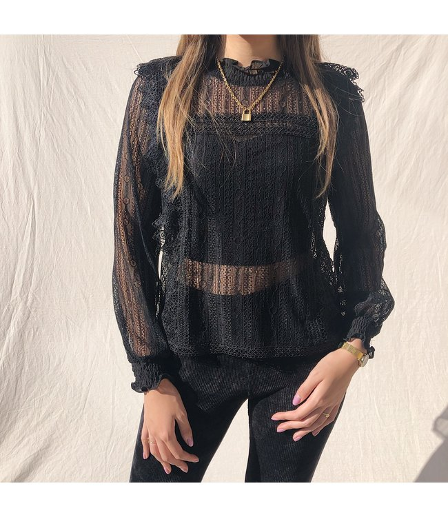 Cassia Lace Top / Black