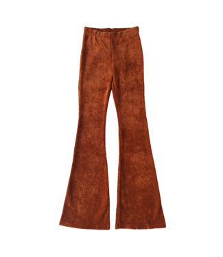 Zoe Ribbed Flared Trousers / Rust