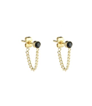 Gold Stud Chain Earrings