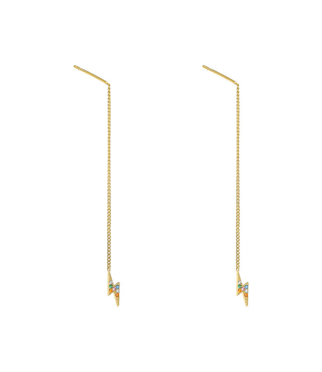 Gold Thunderbolt Dangle Earrings