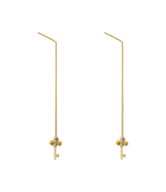 Gold Keys Dangle Earrings