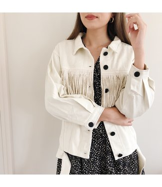 Fay Fringe Oversized Jacket / Off white