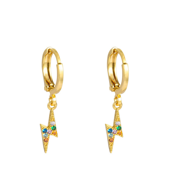 Gold Colourful Thunderbolt Earrings
