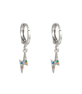 Silver Colourful Thunderbolt Earrings