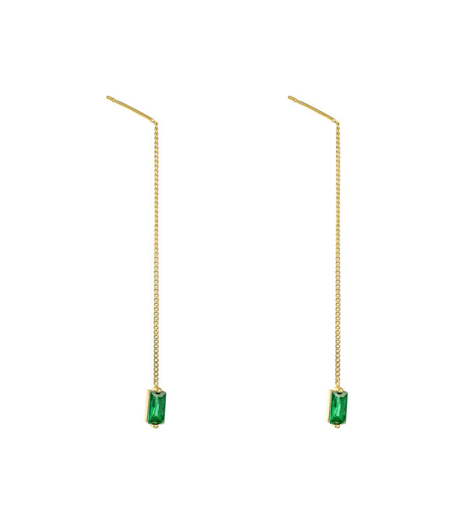 Gold Zirconia Dangle Earrings