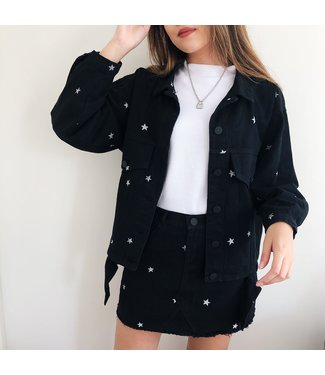 Nova Printed Star Jacket / Black & Silver