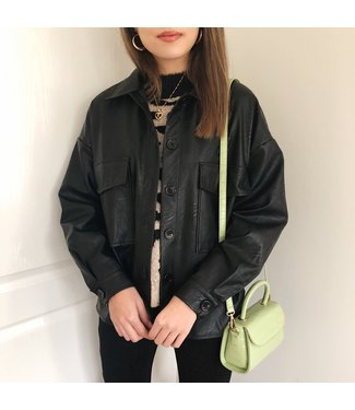 Ida Faux Leather Jacket / Black