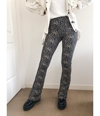 Alexis Cheetah Flared Leggings / Black & Sand
