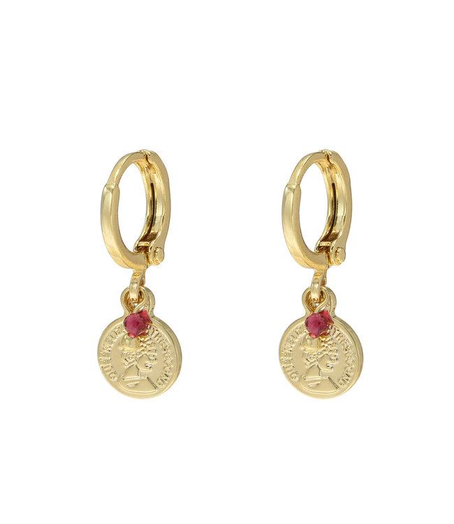 Gold Bead Coin Earrings