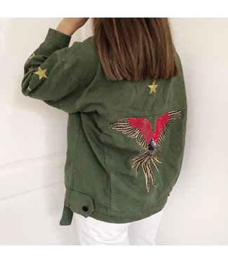 Phoenix Bird & Stars Jacket / Green