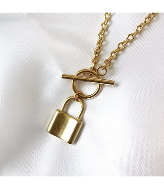 Gold Lock & Pin Chain Necklace