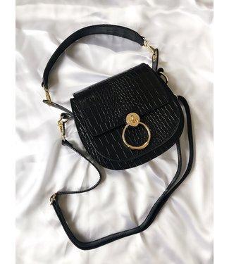 Bella Croco Buckle Bag / Black Leather