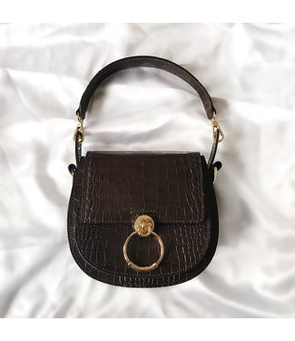 Bella Croco Buckle Bag / Brown
