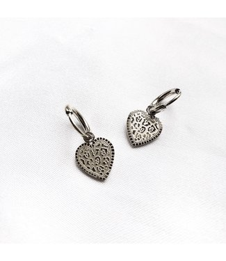 Silver Leo Heart Earrings