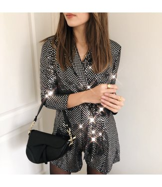 Roxie Glitter Playsuit / Black