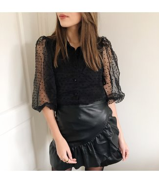 Rosy Sheer Dots Blouse  / Black