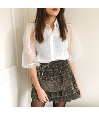 Rosy Sheer Dots Blouse  / White