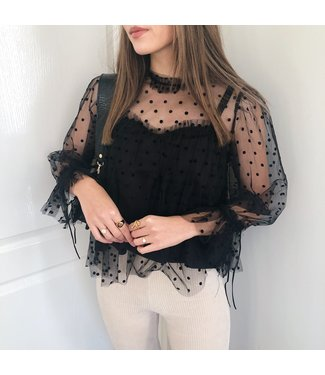 Florence Sheer Dots Blouse  / Black