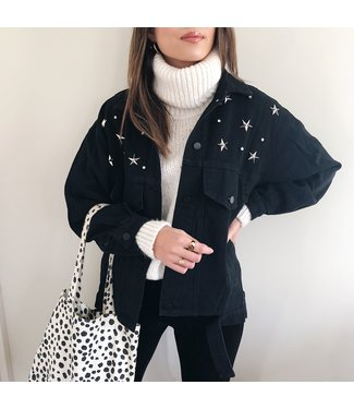 Estella Star Studded Jacket / Black & Silver