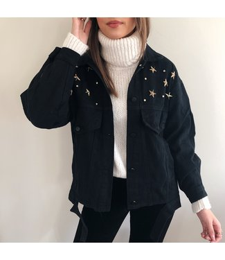 Estella Star Studded Jacket / Black & Gold