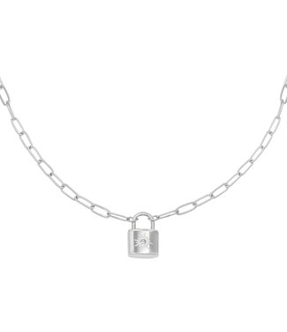 Silver Sparkle Lock Necklace
