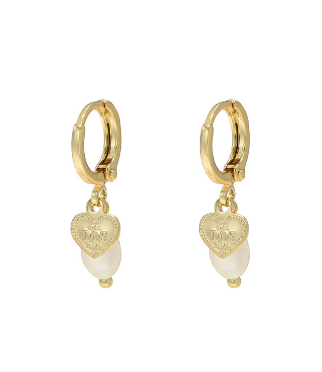 Gold Pearl Heart Earrings