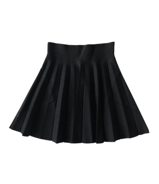 Leighton Pleated Glitter Skirt / Black