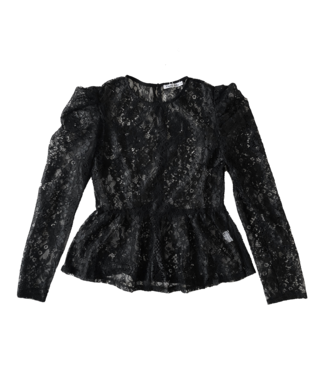 Caro Peplum  Lace Top / Black