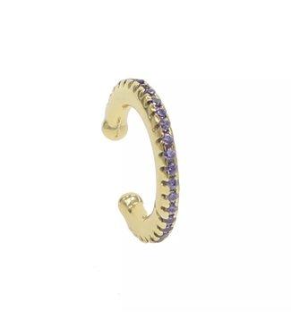Gold Rhinestone Earcuff / Lilac