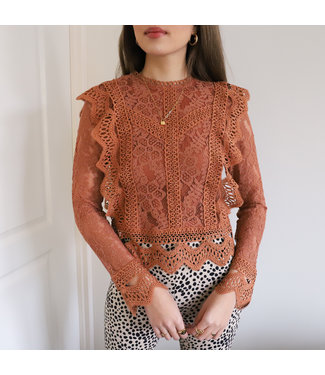 Clementine Lace Top / Terracotta