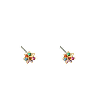 Gold Pretty Flower Studs / Rainbow