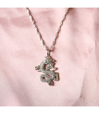 Silver Rhinestone Dragon Necklace