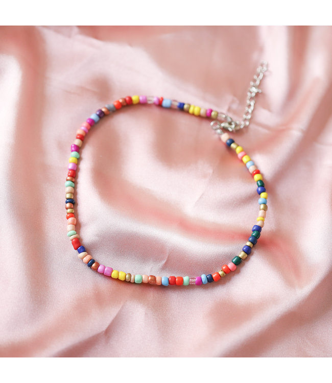 Rainbow Beads Choker Necklace / Dark
