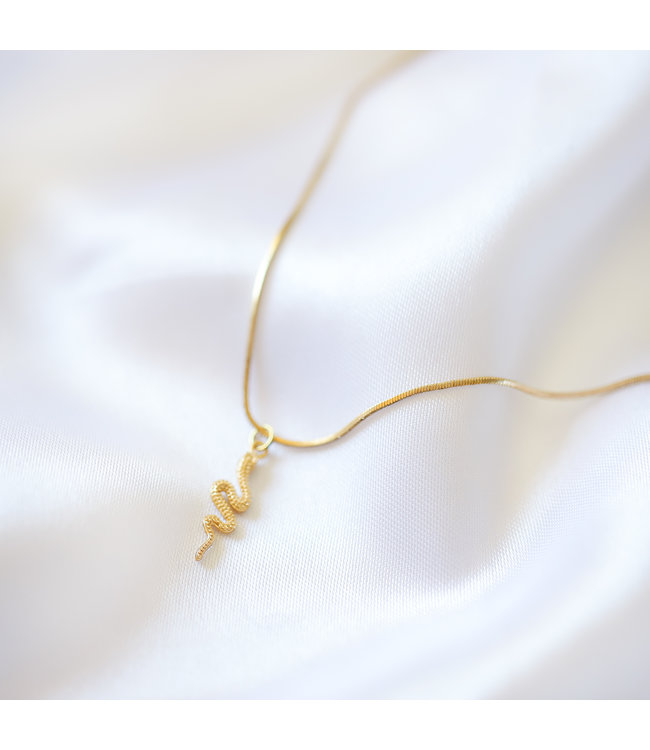 Gold Solid Snake Necklace